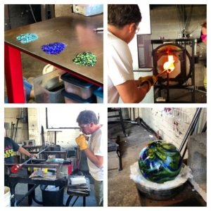 Went to a glass blowing studio and Hubs made me a Glass Float in Lincoln City, OR