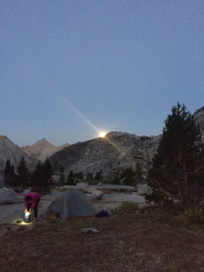 Moonset over camp as we pack up.